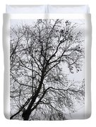 Sweetgum Silhouette On A Rainy Day Duvet Cover