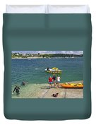 Swimmers On The Slipway - St Mawes Duvet Cover