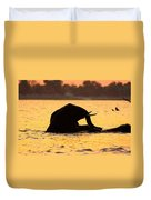 Swimming Kalahari Elephants Duvet Cover