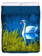 Swimming Swan And Ferns Duvet Cover
