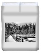 Swinging Bridge In Winter Duvet Cover