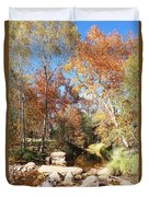 Sycamore And Cottonwood Trees Along The East Verde River Duvet Cover