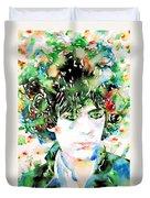 Syd Barrett Watercolor Portrait.1 Duvet Cover