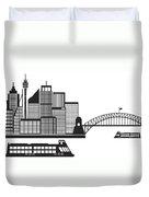 Sydney Australia Skyline Black And White Illustration Duvet Cover