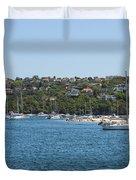 Sydney Beach And Boat Docks Duvet Cover