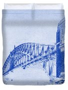 Sydney Harbour Bridge Blueprint Duvet Cover by Kaleidoscopik Photography