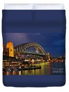 Sydney Harbour Bridge By Night Duvet Cover by Kaye Menner