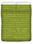 Sydney In Words Olive Duvet Cover