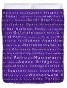 Sydney In Words Purple Duvet Cover