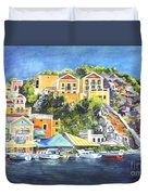 Symi Harbor The Grecian Isle  Duvet Cover by Carol Wisniewski
