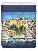 Symi Harbor The Grecian Isle  Duvet Cover