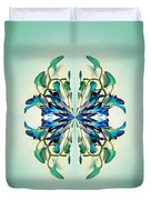 Symmetrical Orchid Art - Blues And Greens Duvet Cover