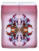 Symmetrical Orchid Art - Reds Duvet Cover
