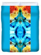 Synchronicity - Colorful Abstract Art By Sharon Cummings Duvet Cover