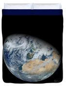 Synthesized View Of Earth Showing North Duvet Cover