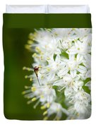 Syrphid Feeding On Alliium Blossom Duvet Cover