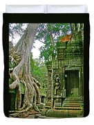 Ta Prohm And Tree Invasion In Angkor Wat Archeologial Park Near Siem Reap-cambodia Duvet Cover