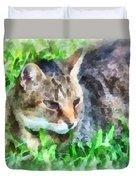 Tabby Cat Closeup Duvet Cover