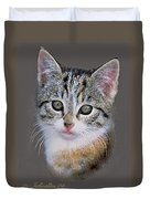 Tabby  Kitten An Original Painting For Sale Duvet Cover
