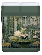 Table Laden For Spring Duvet Cover by Henry Eugene Le Sidaner