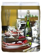 Table Setting With Red And White Duvet Cover