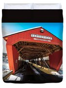 Taftsville Covered Bridge In Vermont In Winter Duvet Cover by Edward Fielding