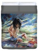 Tahitian Boy With Knife Duvet Cover