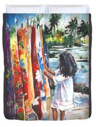 Tahitian Girl With Pareos Duvet Cover