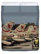 Tail Fins Of Israeli Air Force F-16`s Duvet Cover