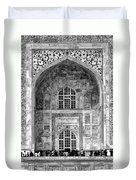 Taj Mahal Close Up In Black And White Duvet Cover