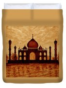 Taj Mahal Lovers Dream Original Coffee Painting Duvet Cover