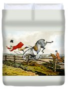 Taking A Tumble From Qualified Horses And Unqualified Riders Duvet Cover
