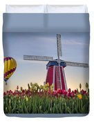 Taking Off At Tulip Field Duvet Cover