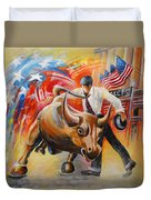 Taking On The Wall Street Bull Duvet Cover
