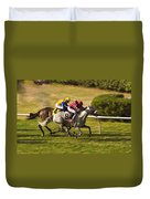 Taking Over - Del Mar Horse Race Duvet Cover