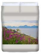 Tall Fireweed And Cow Parsnip Over Cook Inlet Near Homer- Ak Duvet Cover