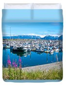 Tall Fireweed By The Marina Along Homer Spit-ak  Duvet Cover