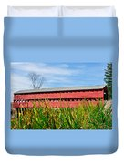 Tall Grass And Sachs Covered Bridge Duvet Cover