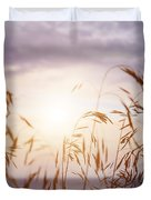 Tall Grass At Sunset Duvet Cover