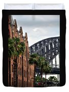 Tall Palms Before Beautiful Architecture Duvet Cover