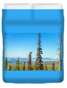 Tall Pine Trees And Hilly Background Duvet Cover