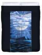 Tall Ship By Moonlight Duvet Cover