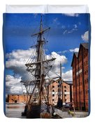 Tall Ship In Gloucester Docks Duvet Cover