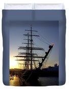 Tall Ship In Ibiza Town Duvet Cover