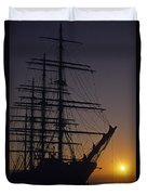 Tall Ship Silhouetted Duvet Cover