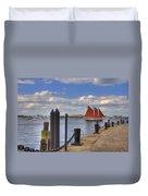 Tall Ship The Roseway In Boston Harbor Duvet Cover by Joann Vitali