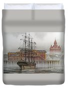 Tall Ship Waterfront Duvet Cover