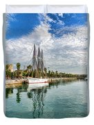 Tall Ships And Palm Trees - Impressions Of Barcelona Duvet Cover