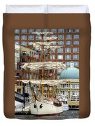 Tall Ships In Boston Duvet Cover