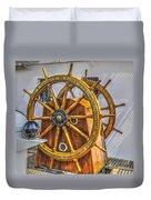 Tall Ships Wheel Duvet Cover